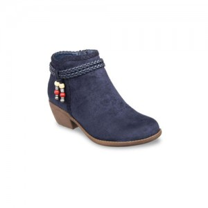 Flat n Heels Women Navy Blue Solid Heeled Boots