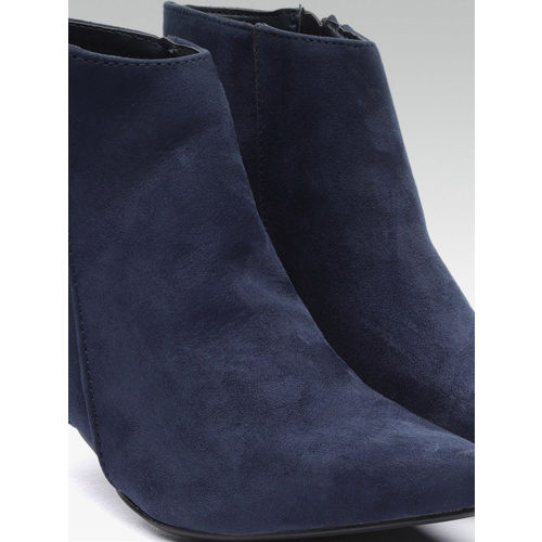 Carlton London Women Navy Blue Solid Heeled Boots