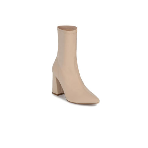 Truffle Collection Women Beige Solid Heeled Boots