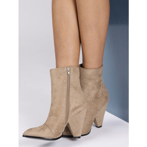 CORSICA Women Beige Embellished Mid-Top Heeled Boots