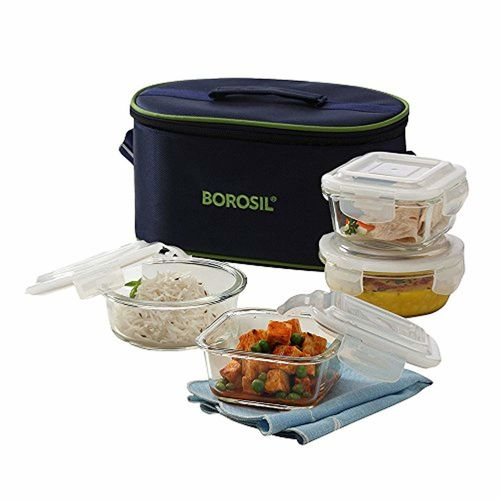 Borosil Microwavable Borosilicate Glass Klip N Store Tiffin Box, 320ml and 240ml, Set of 4 with Lunch Bag