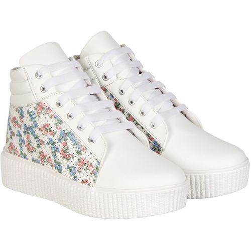 NMD Comfortable Woman Long White Multicolor Shoe Boots For Women(Multicolor)