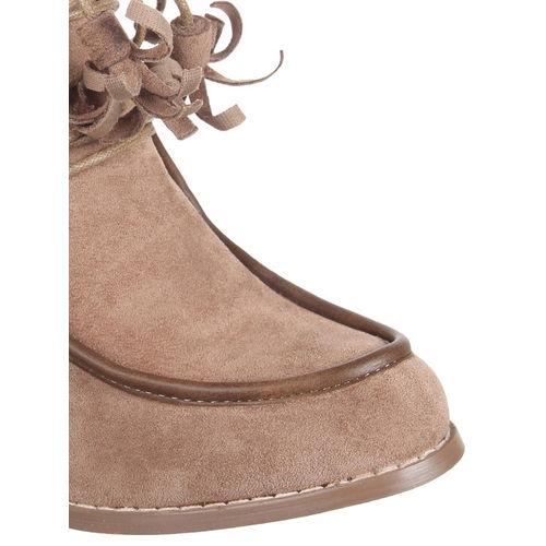 Flat n Heels Women Khaki Solid Heeled Boots
