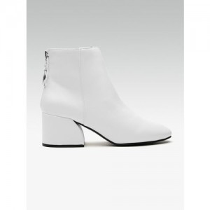 DOROTHY PERKINS Women White Solid Mid-Top Heeled Boots
