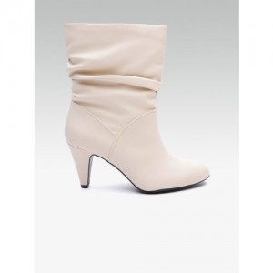 DOROTHY PERKINS Women Off-White Solid Mid-Top Heeled Boots