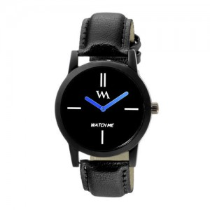 WM Men Black Leather Analogue Watch wmc-002rp