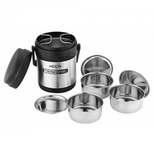 MILTON Milton Thermosteel Hot Meal 3 Container Lunch Box, Silver