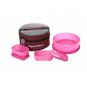Signoraware Pink Plastic Classic Lunch Box Set with Bag (1080Ml)