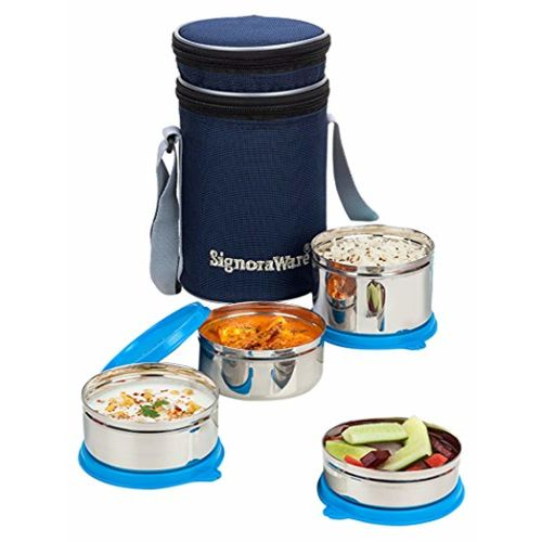 Signoraware Executive Blue Stainless Steel Lunch Box Set, Set of 4