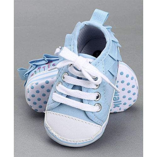 Cute Walk by Babyhug Lace Up Booties - Blue White