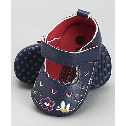 Cute Walk by Babyhug Booties Flower Embroidery - Navy Blue