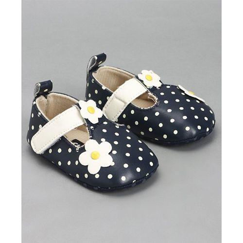 Cute Walk by Babyhug Polka Dot Booties Floral Motifs - Navy Blue