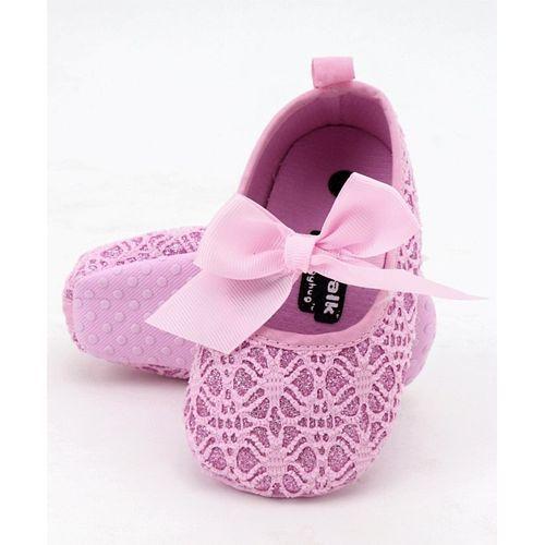 Cute Walk by Babyhug Designer Booties With Grosgrain Bow - Light Pink