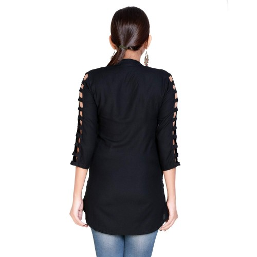 Silkova Black Rayon Solid Stylish top