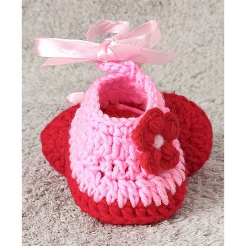 Cute Walk by Babyhug Winter Wear Booties Floral Motif - Coral & Pink