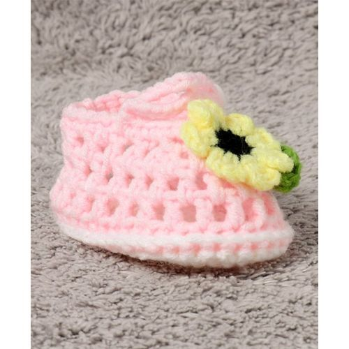 Cute Walk by Babyhug Winter Booties Floral Motif - Light Pink