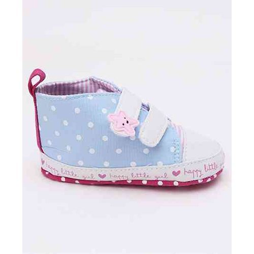 Cute Walk by Babyhug Polka Dot Booties Star Patch - Sky Blue