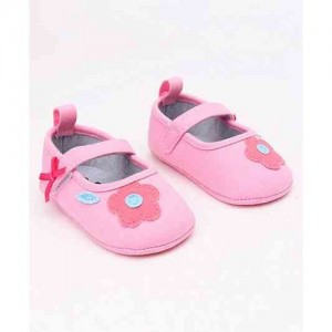 Cute Walk by Babyhug Canvas Booties Floral Patch - Light Pink