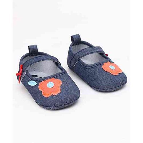 Cute Walk by Babyhug Canvas Booties Floral Patch - Navy Blue
