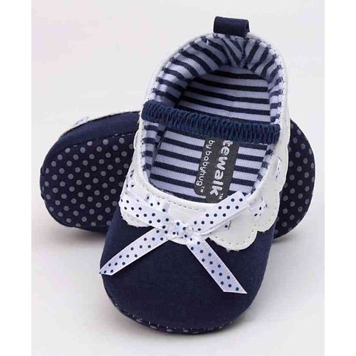 Cute Walk by Babyhug Booties Ribbon Bow - Navy Blue