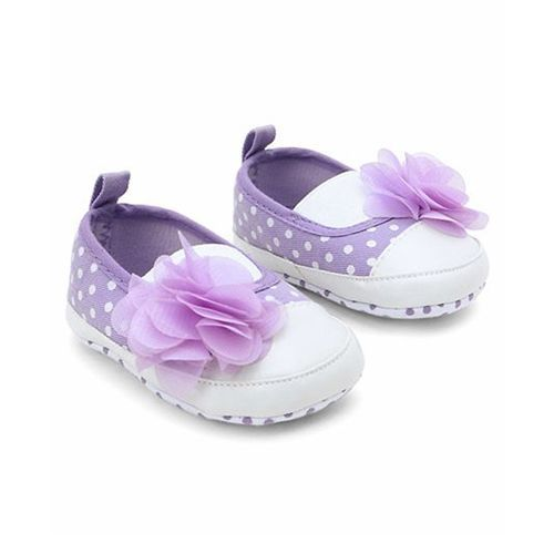 Cute Walk by Babyhug Booties Polka Dots Design With Flower Motif - Purple
