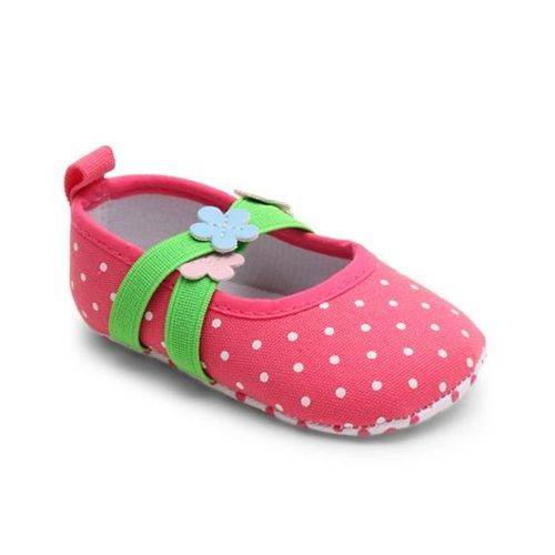 Cute Walk by Babyhug Booties Polka Dots & Flower Applique - Pink