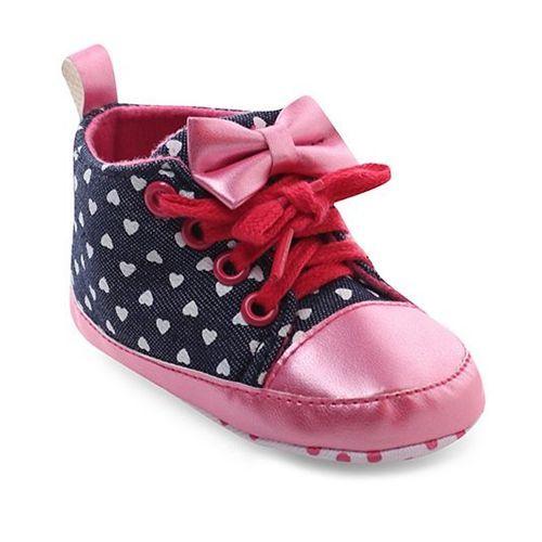 Cute Walk by Babyhug Booties Heart Print - Navy & Pink
