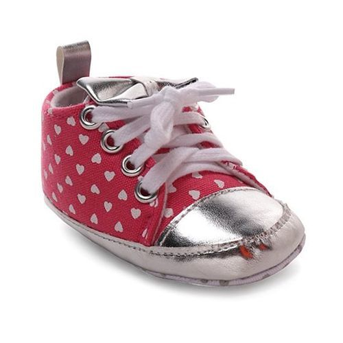 Cute Walk by Babyhug Booties Heart Print - Pink & Silver