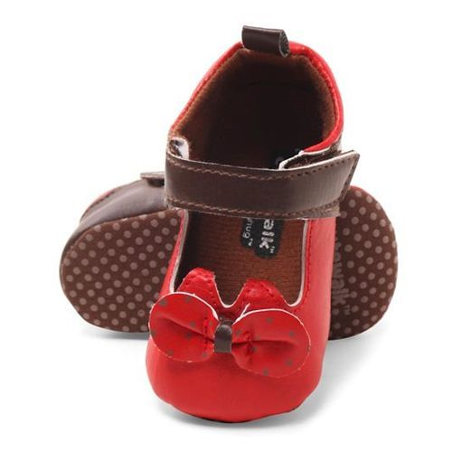 Cute Walk by Babyhug Booties Velcro Closure Bow Applique - Brown & Red
