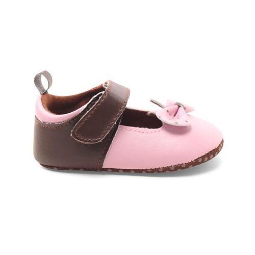 Cute Walk by Babyhug Booties Velcro Closure Bow Applique - Brown & Pink