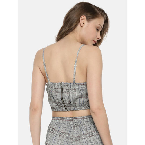 ONLY Women Grey Checked Top