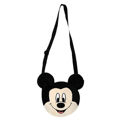 Disney Mickey Shape Plush Sling Bag Black - 7.7 Inches