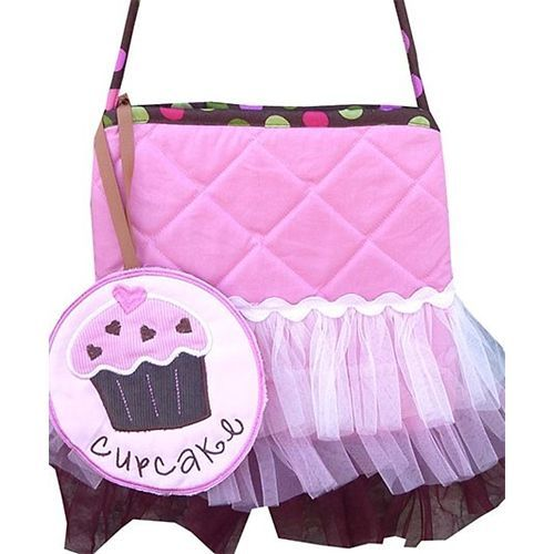 Little Pipal Cupcake Cross Body Tutu Tote Pink And Brown - 9 Inches