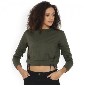 Campus Sutra Women Green Solid Boxy Top