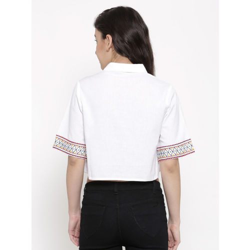 Global Desi Women White Shirt Style Crop Top