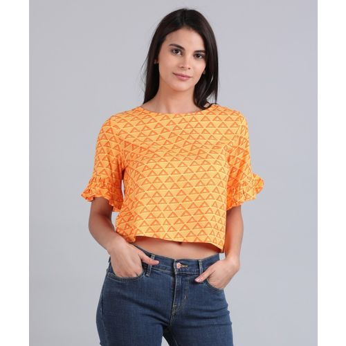 Global Desi Casual Bell Sleeve Printed Women's Orange Top
