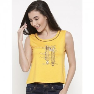 Global Desi Casual Sleeveless Printed Women's Yellow Top