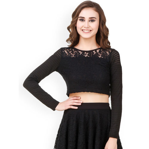 Texco Women Black Lace Top