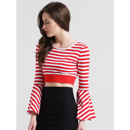 Texco Women Red Striped Fitted Top