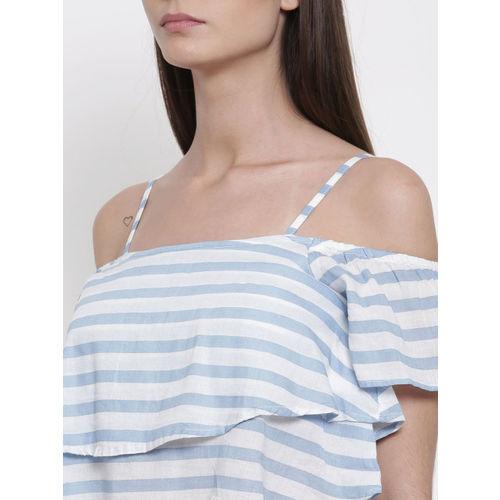 People Women Blue Striped Top