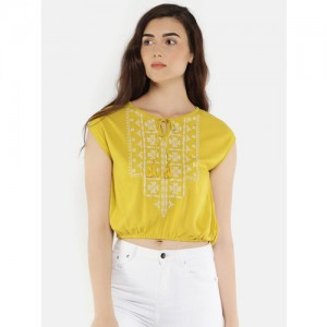 b79e10f0973584 Buy Alia Bhatt For Jabong Lemon Yellow Cotton Crop Top online ...