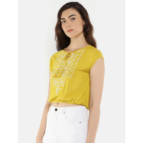 People Women Yellow Self Design Cropped Blouson Top