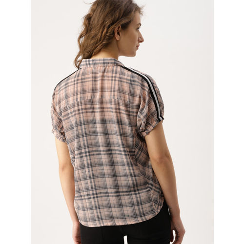 DressBerry Women Peach-Coloured Checked Shirt Style Crop Top
