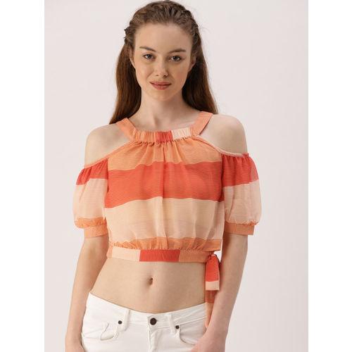 DressBerry Women Orange Striped Sheer Blouson Crop Top