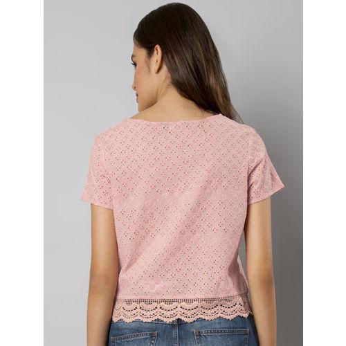 FabAlley Women Pink Self Design Boxy Crop Top