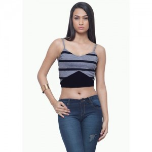 FabAlley Casual Sleeveless Printed Women's Grey Top