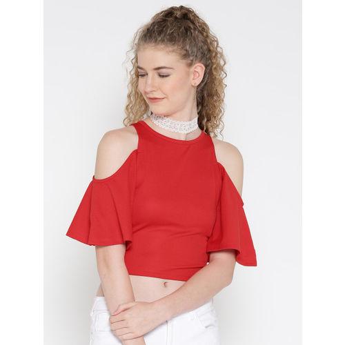 Veni Vidi Vici Casual Short Sleeve, Cap Sleeve, Half Sleeve Solid, Self Design, Stylised Women's Red Top