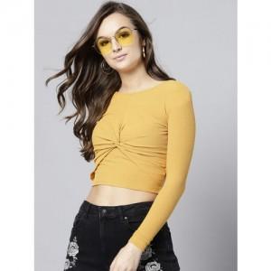 Veni Vidi Vici Women Mustard Yellow Solid Fitted Crop Top