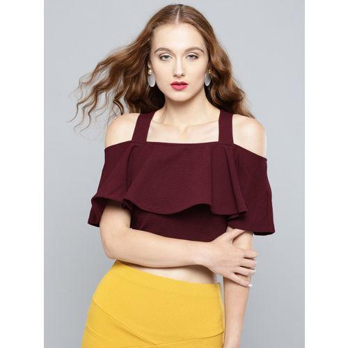 Veni Vidi Vici Women Burgundy Solid Cold-Shoulder Crop Fitted Top