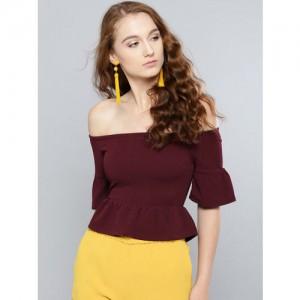 e32942e978297 Buy SASSAFRAS Mustard Yellow Off-Shoulder Crop Top online